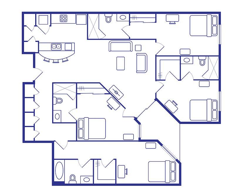 Bedroom & Bathroom Student Housing